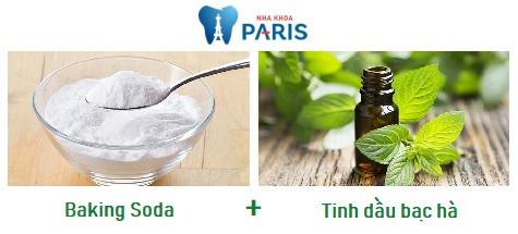 Cách tẩy trắng răng bằng baking soda và tinh dầu bạc hà