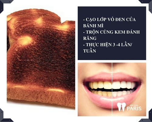 Cách làm trắng răng bằng bánh mì cháy