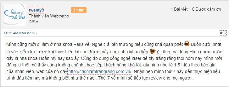 Tẩy trắng răng tại Đà Nẵng - đánh giá của khách hàng 1