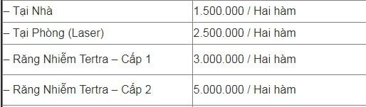 Giá tiền tẩy trắng răng tại Nha khoa Đăng Lưu