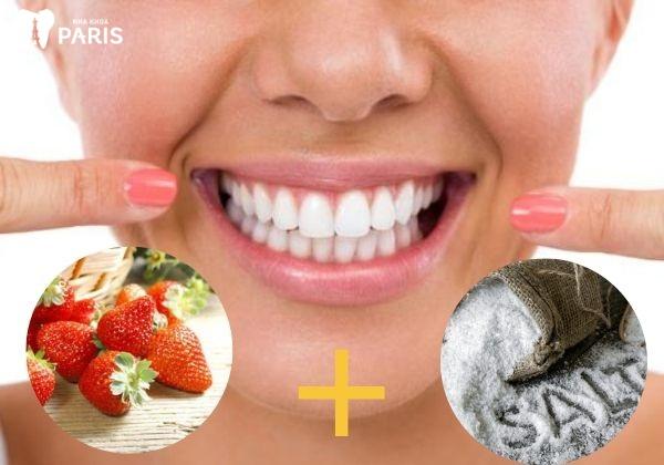 Cách làm trắng răng bằng dâu tây và muối